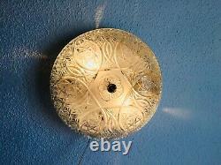 12 Vintage Antique Large Cut Crystal Glass Crystal Flush Mount Light Fixture
