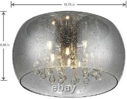 15 in. 5-Light Flush Mount Integrated LED with Rain Patterned Glass Shade, Chrome