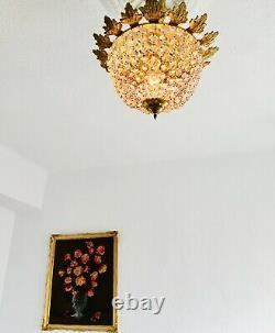 16 1-Light Antique Semi Flush Mount Crystal Chandelier European Bag Lamp