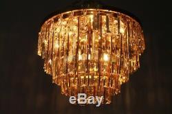 1v2 Palwa Crystal Glass Flush Mount Chandelier Lampe Deckenleuchter 70er 70s