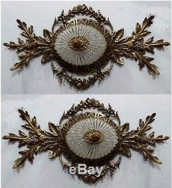 2 Hand Beaded Antique Replica Crystal Bronze European Flush Mount Chandeliers