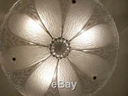 239 Vintage antique 40's Glass Ceiling Light Lamp Fixture Chandelier white