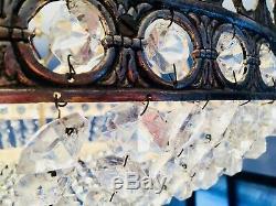 26 Antique 6 Light French Flush Mount Crystal Chandelier Basket Bowl Silver
