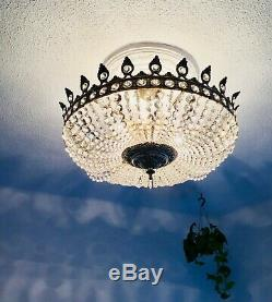 26 Antique 6 Light French Flush Mount Crystal Chandelier Basket Bowl Silver