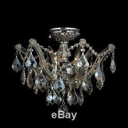 3-Light 16 Pan Chrome Finish Golden Teak Crystal Flush Mount Ceiling Chandelier
