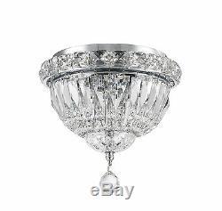 3-Light Chrome Finish D 8 x H 8 Empire Crystal Flush Mount Ceiling Light Mini