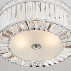 3 Light Crystal Chandelier Semi Flush Mount Lamp Lighting Dimmable Fixture Decor