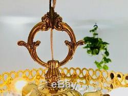 36cm Chandelier, Crystal, Antique, French/Spanish Basket Bag Semi Flush Mount