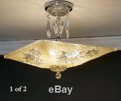373b Vintage Quality Azalea Glass Ceiling Light Lamp Fixture Chandelier