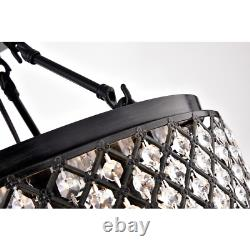 4-Light Antique Black Semi-Flush Mount Beaded Crystal Chandelier Antique Black