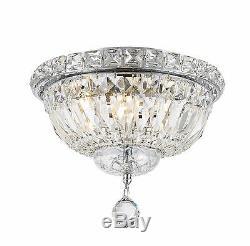 4-Light Chrome Finish D 10 x H 8 Empire Crystal Flush Mount Ceiling Light