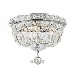 4-Light Chrome Finish D 12 x H9 Empire Crystal Flush Mount Ceiling Light Round