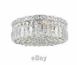 4-Light Chrome Finish D 14 x H 5.5 Apollo Round Crystal Ceiling Light