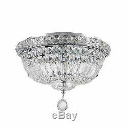 4-Light Chrome Finish D 14 x H9 Empire Crystal Ceiling Flush Mount Light Round