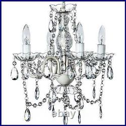 4 Light Crystal WHITE Hardwire Flush Mount Chandelier H17.5Xw15 Metal Frame W