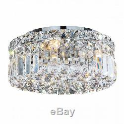 4-Light D12 H5.5 Apollo Clear Crystal Flush Mount Ceiling Light Round