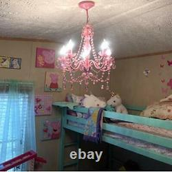 5 Light Pink Hardwire Flush Mount Chandelier H21xW19 Pink Metal Frame with