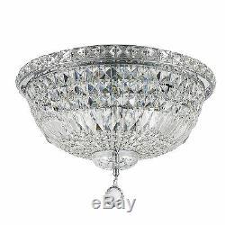 6-Light Chrome 16'' x 10 Empire Crystal Flush Mount Ceiling Chandelier Light