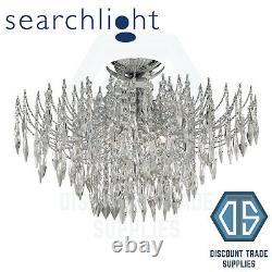 6134-4cc Searchlight Waterfall Chrome 4 Light Semi-flush Fitting With Crystal
