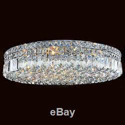 9-Light D24 Round Circle Shape Apollo Clear Crystal Flush Mount Ceiling Light