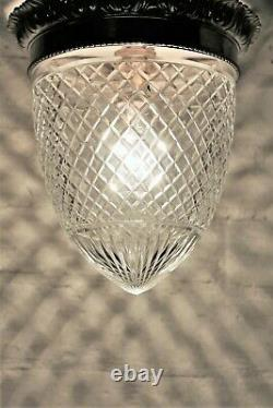 A Large Ceiling Light Antique Crystal Cut Glass Flush Mount Early 20th Century