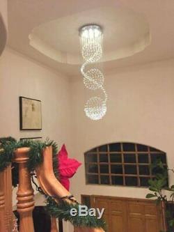 A1A9 Modern Spiral Sphere Crystal Chandelier Spectacular Droplet Ceiling Lights