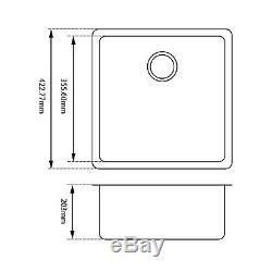 ARTE STONE 422mm Square Premium Black Quartz Granite Single Kitchen/Laundry Sink