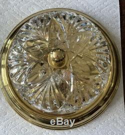 AUTHENTIC Waterford Crystal Brass Chandelier Flush Mount Ceiling Fixture Signed