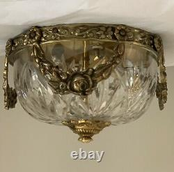 AUTHENTIC Waterford Crystal Brass French Barbola Swag Chandelier Flush Mount