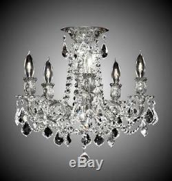 American Brass & Crystal Rosetta 5 Light Flush Mount Chandelier