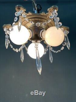 Antique 3 Light Benjamin Socket Cluster Flush Mount Fixture w Prisms & Crystals