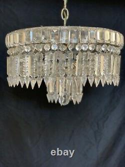 Antique Crystal Beaded Basket Semi Flush Mount Chandelier Ceiling Light 14