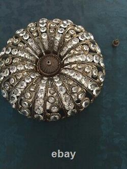 Antique Crystal Plafon, Flush Mount Ceiling Light. 33cm, French/Spanish