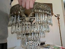 Antique Crystal Wedding Cake Flush Mount Nickel Silver Hearts Chandelier 5 Tier