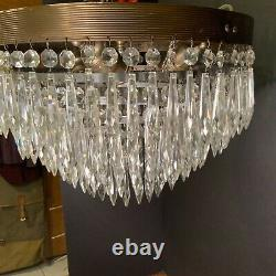 Antique Flush Mount Five-Tiered Wedding Cake Chandelier 200 Icicle Drop Prisms