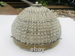 Antique French Crystal Beaded Shade Basket Chandelier Shade Flush Mount 8