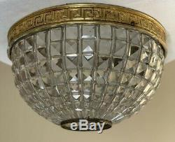 Antique French Crystal Bronze Dome Beaded Shade Basket Chandelier Flush Mount