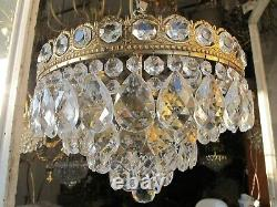 Antique French Flush Mount Plafonniere Crystal Chandelier Lamp 1940's 14in Ø dmt
