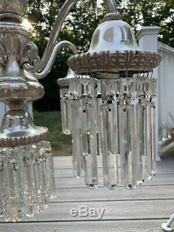Antique Georgian Silver Plate Crystal Chandelier Colonial Prisms Victorian