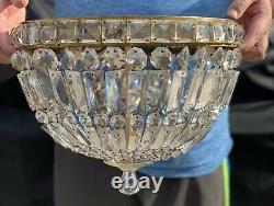 Antique Vintage Crystal Beaded Basket Chandelier Flush Mount Ceiling Light 15