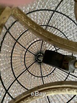 Antique Vintage Crystal Beaded Shade Basket Chandelier Semi Flush Mount 14