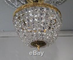 Antique Vintage Flush Mount 2 Light Crystal Basket Chandelier Made in Spain 2AVL