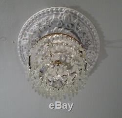 Antique Vintage Flush Mount Wedding Cake 2 Light Crystal Chandelier Petite