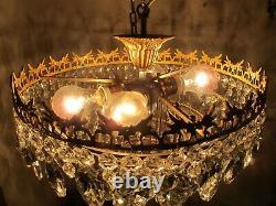 Antique Vnt French Flush Mount Crystal Chandelier Ceiling Lamp 1940's 16 Dmt