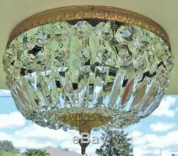 Antique/Vtg 14 ITALY Flush Mount Crystal Brass 3Light Chandelier BREAKERS HOTEL