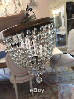 Antique Vtg Flush Mount Crystal Prism Chandelier Lamp fixture