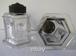 Antique light fixture shades made chezcoslovakia cut Cristal. Diamond cut style