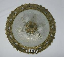 Antique vintage heavy ornate cut glass crystal dome shade flush light fixture