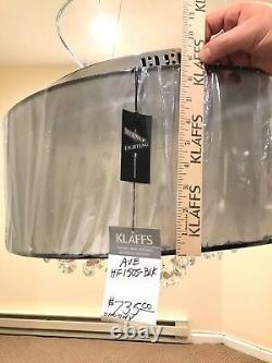 Ave Lighting HF1505-BLK Riverside Dr Flush Mount Black Organza Silk Chandelier