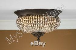 BEADED CRYSTAL Brass Floral FLUSH MOUNT Chandelier NEIMAN MARCUS Light Fixture